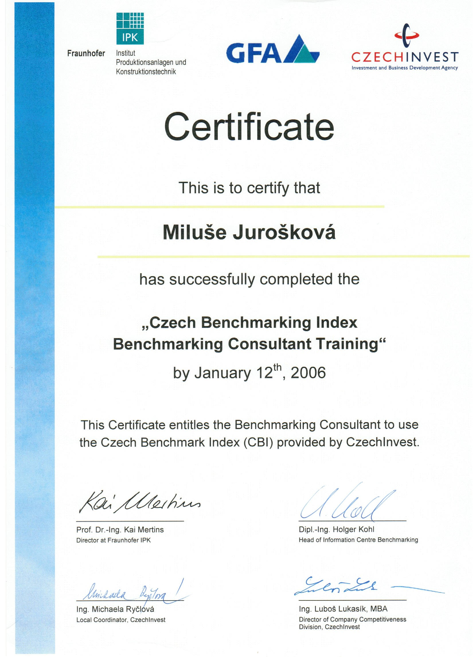 Benchmarking Consultant, CzechInvest